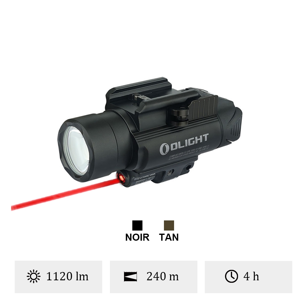 Olight Baldr RL - Lampe Tactique Laser Rouge 1120 Lumens