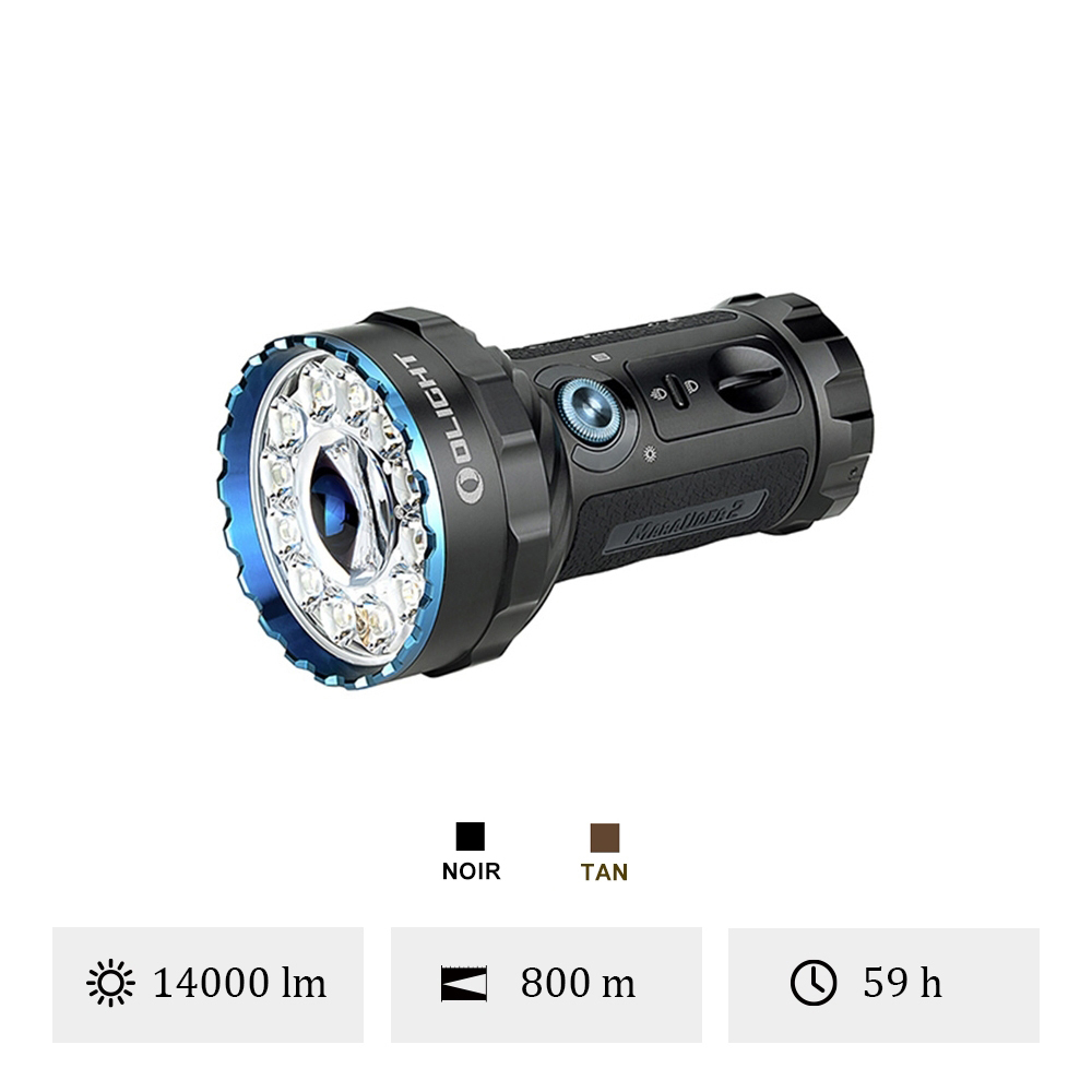 Olight Marauder 2 - Lampe Torche Puissante Rechargeable 14000 Lumens