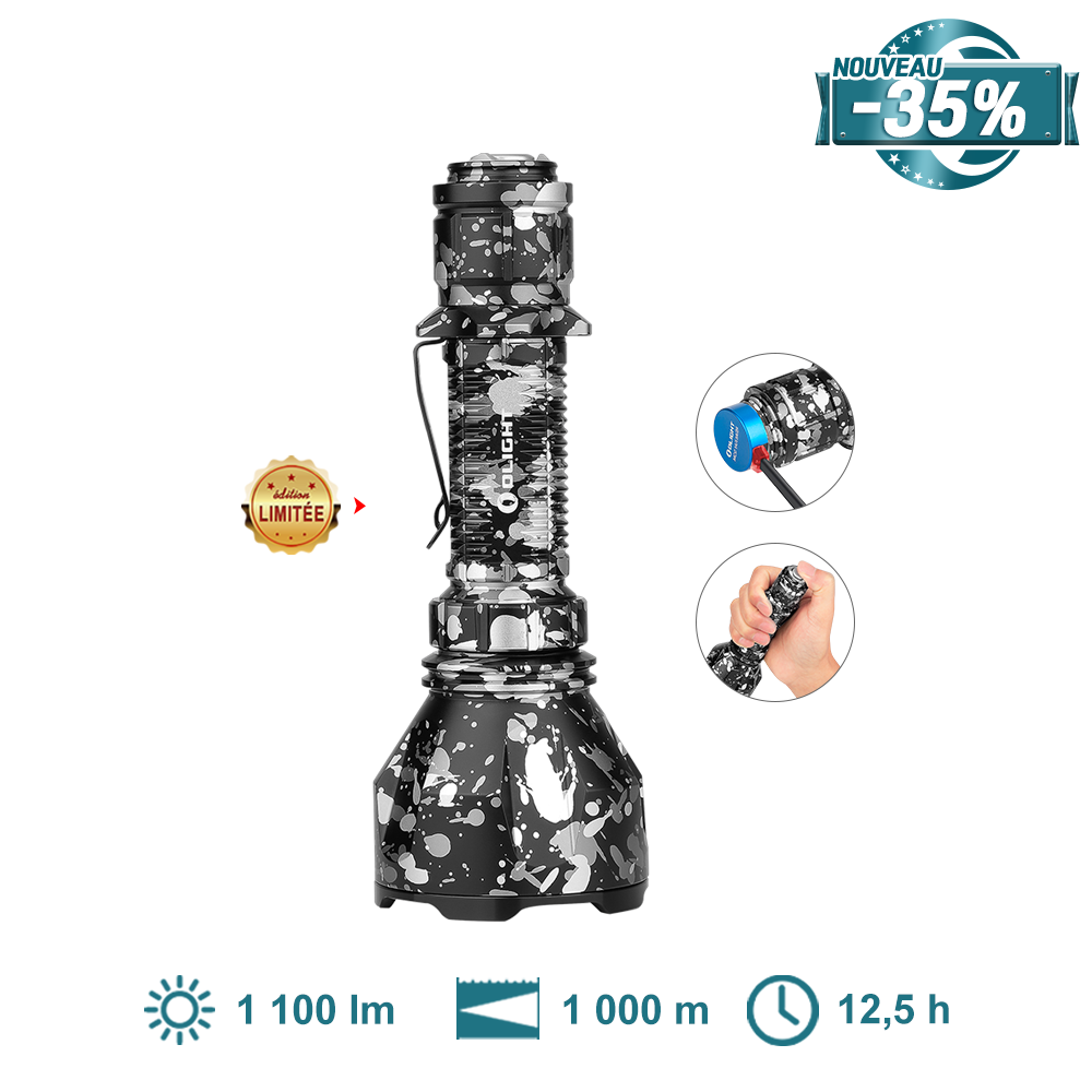 Olight Warrior X Turbo Camouflage Gris- Lampe Torche LED Puissante Militaire