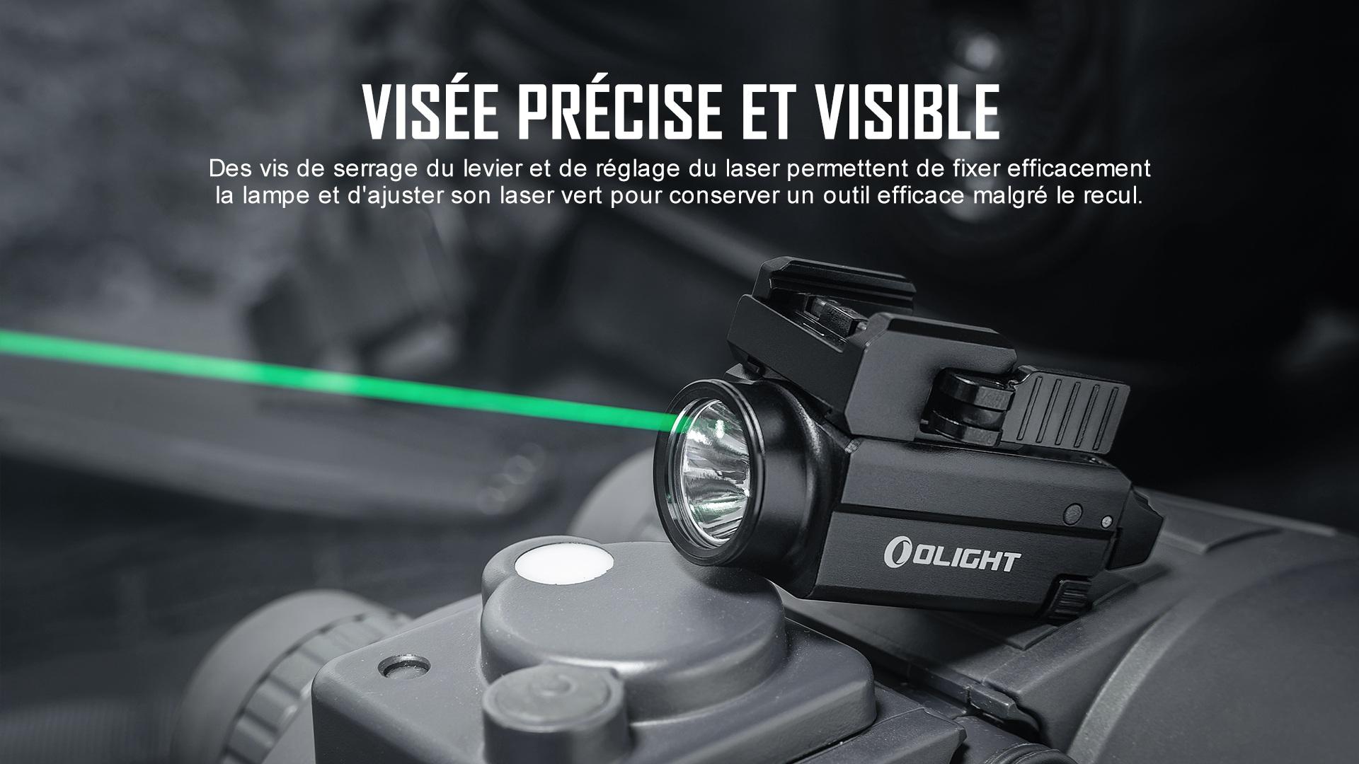 lampe rail picatinny glock, avec laser vert