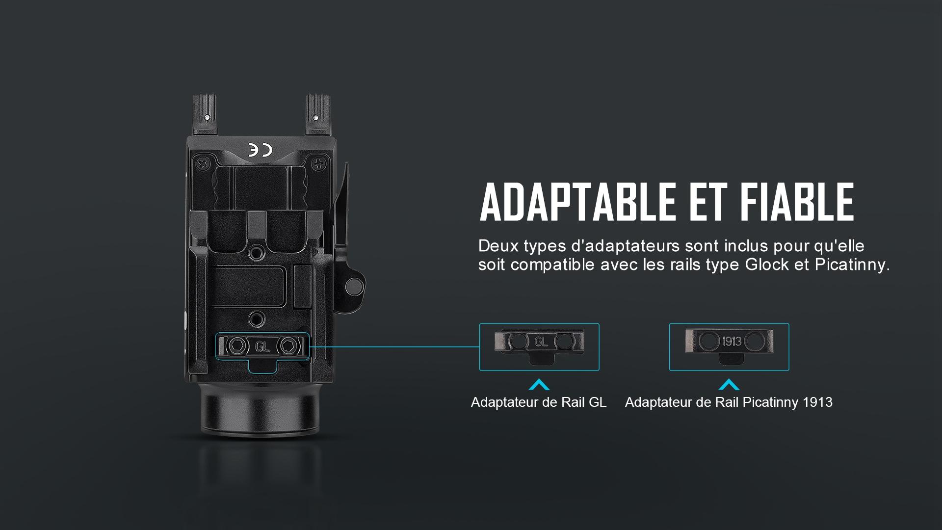 Baldr S est compatible avec les rails de guidage de type Glock et Picatinny