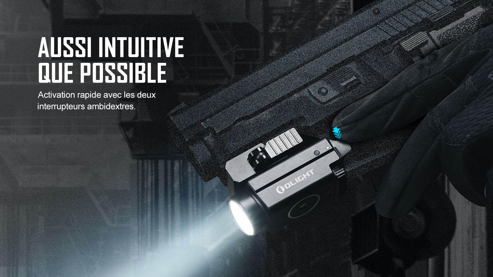 activation rapide de la lampe rail picatinny glock