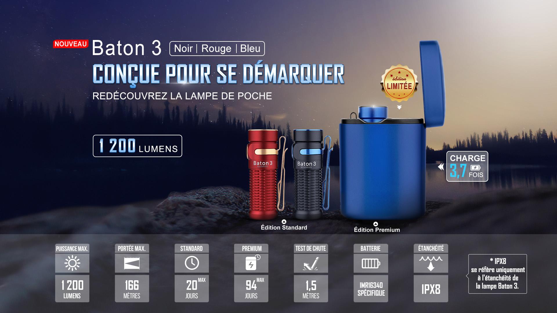 Baton 3 Édition Standard lampe de poche edc rechargeable