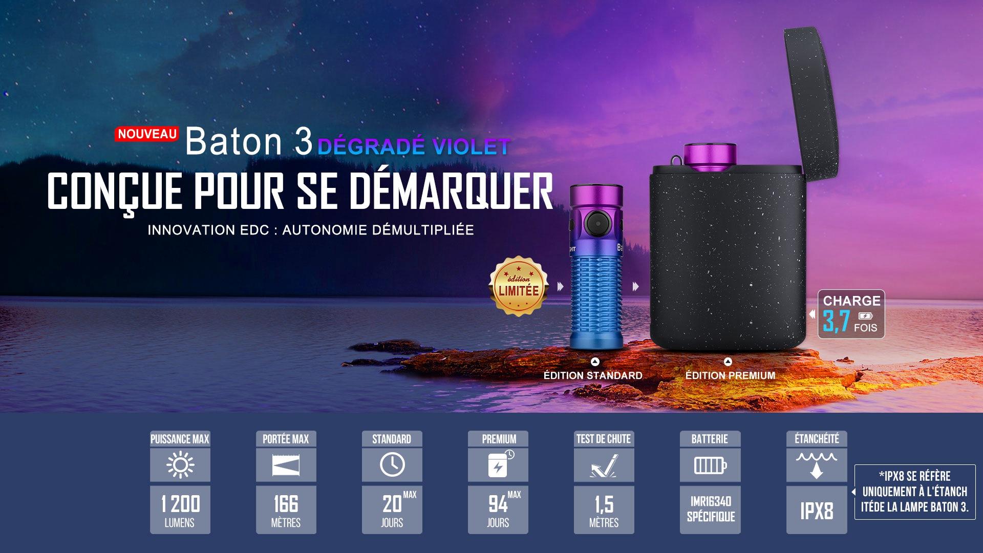 Baton 3 DÉgradÉ Violet Standard - Lampe De Poche Rechargeable Avec Chargeur Sans Fil