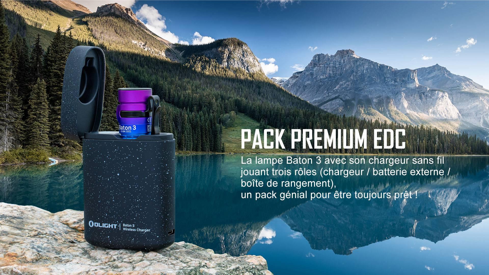 Olight Baton 3 Premium Dégradé Violet -  lampe de poche avec chargeur sans fil