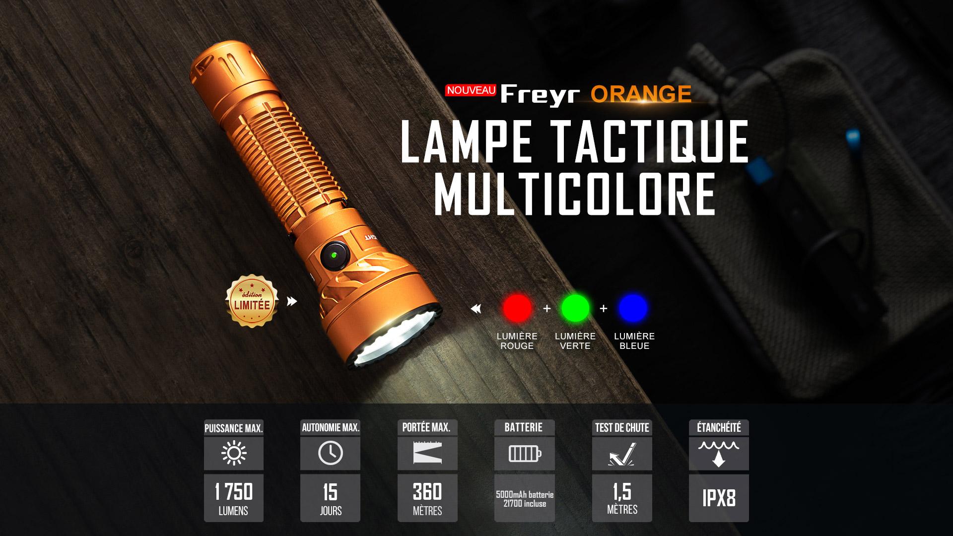 Freyr lampe torche avec faisceau multicolore