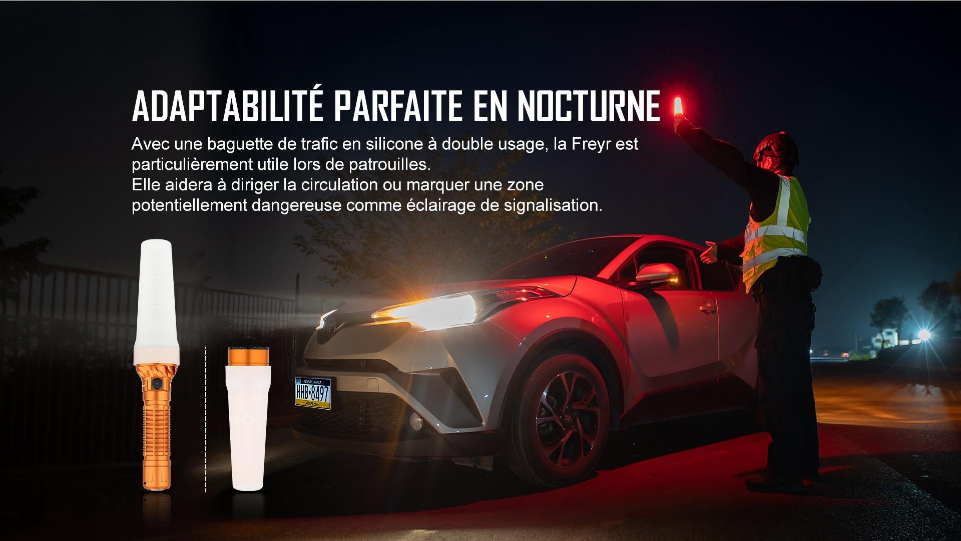 la lampe torche peut être utilisée pour diriger la circulation