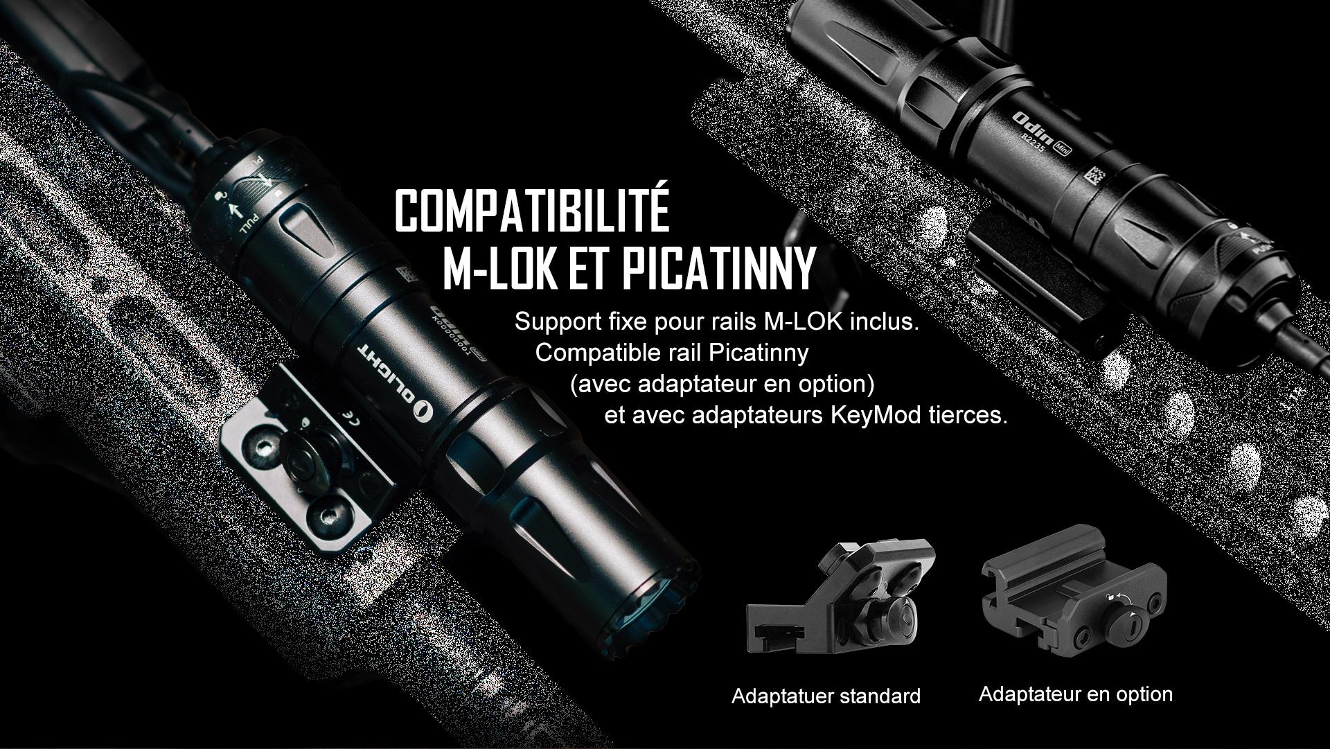 Odin Mini lampe tactique est compatible avec M-LOK et picatinny