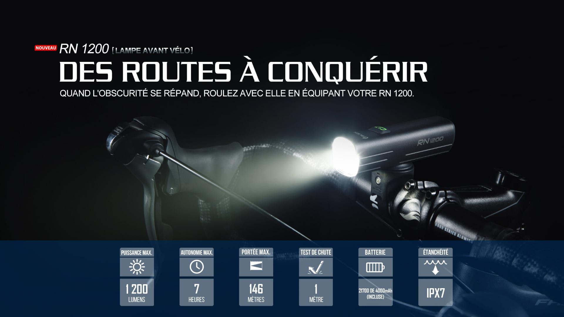 RN 1200 éclairage avant vélo 1200 lumens