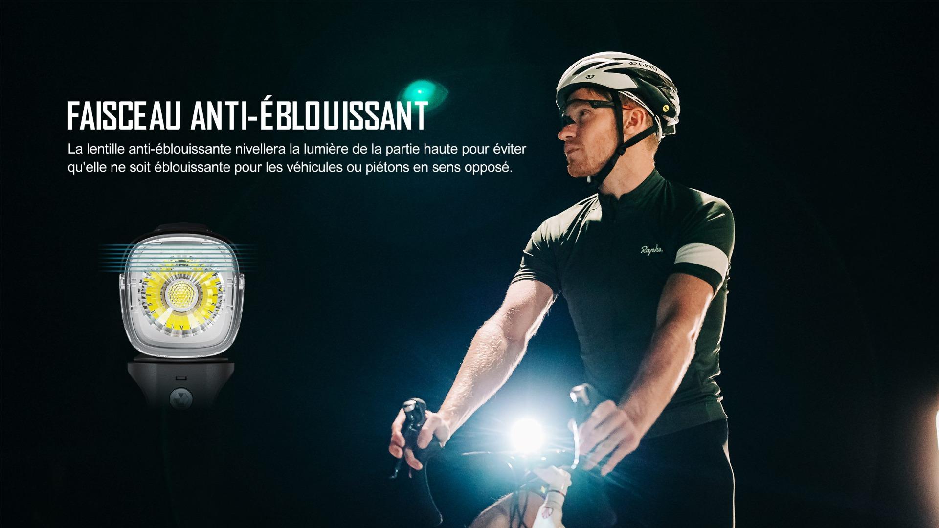 faisceau anti-éblouissant éclairage avant vélo