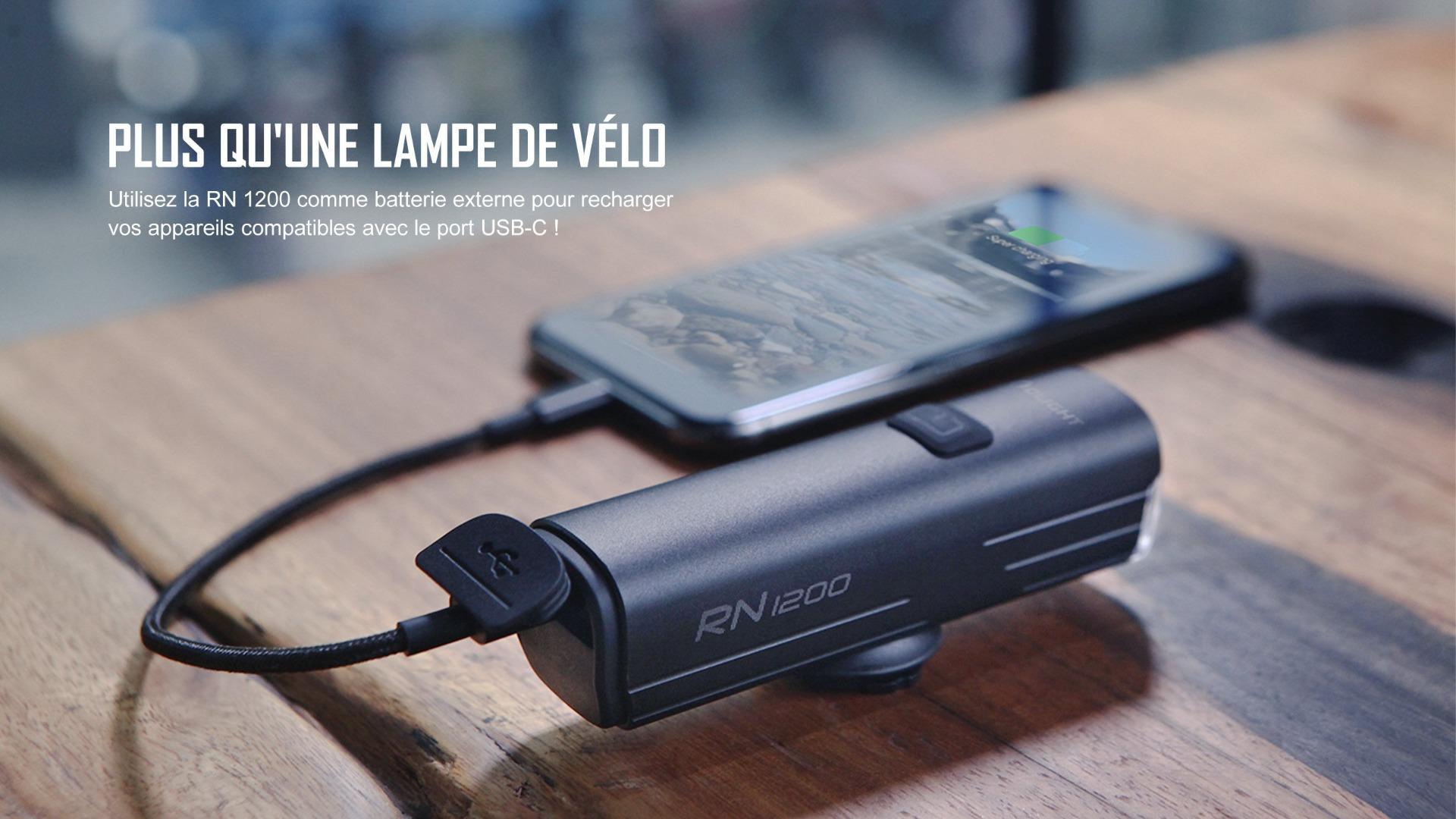 Utilisez la RN 1200 pour recharger vos appareils compatibles avec le port USB-C !