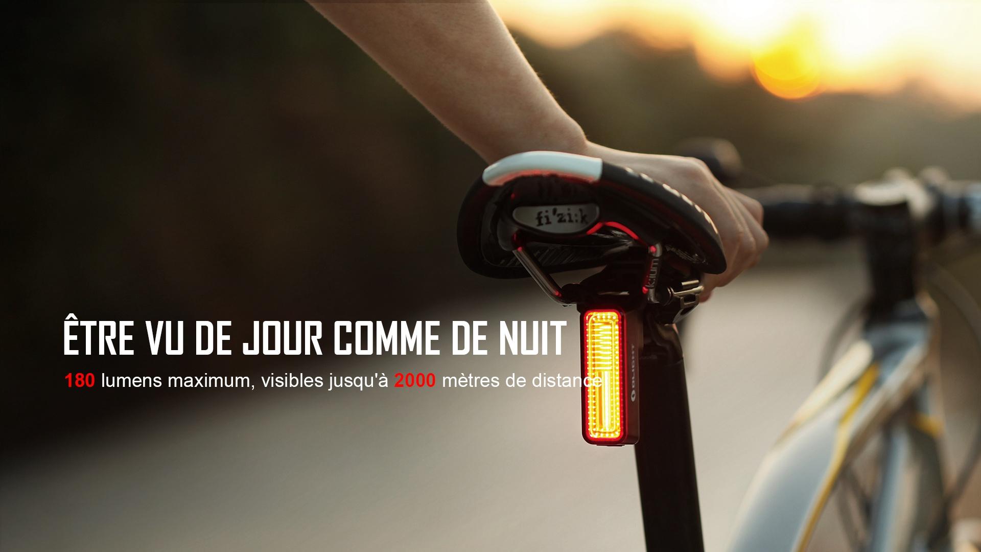 lampe arrière vélo intelligente 180 lumens