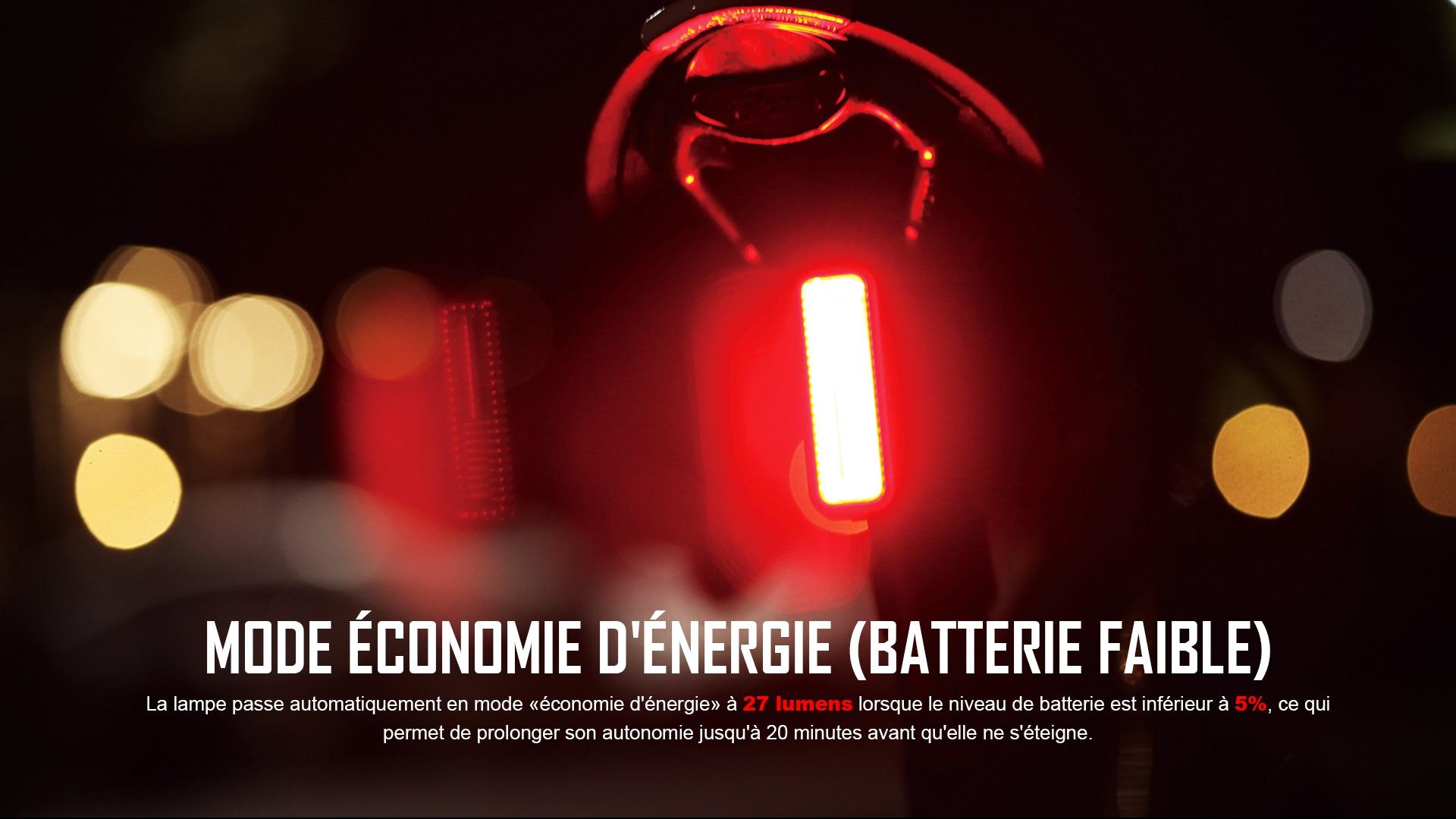 Les lampes de vélo peuvent entrer en mode d'économie d'énergie