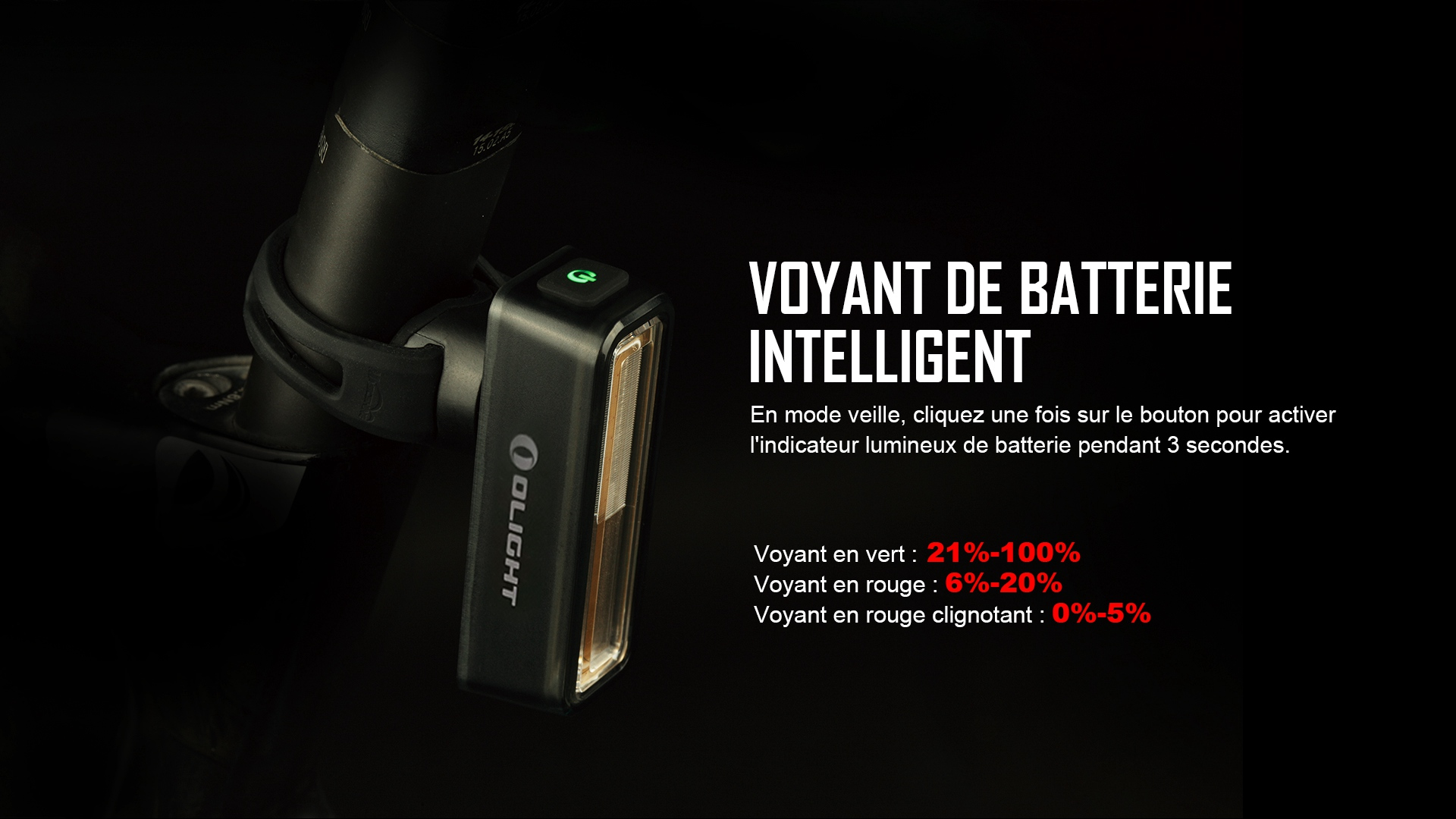lampe vélo voyant en vert : 21% - 100%
