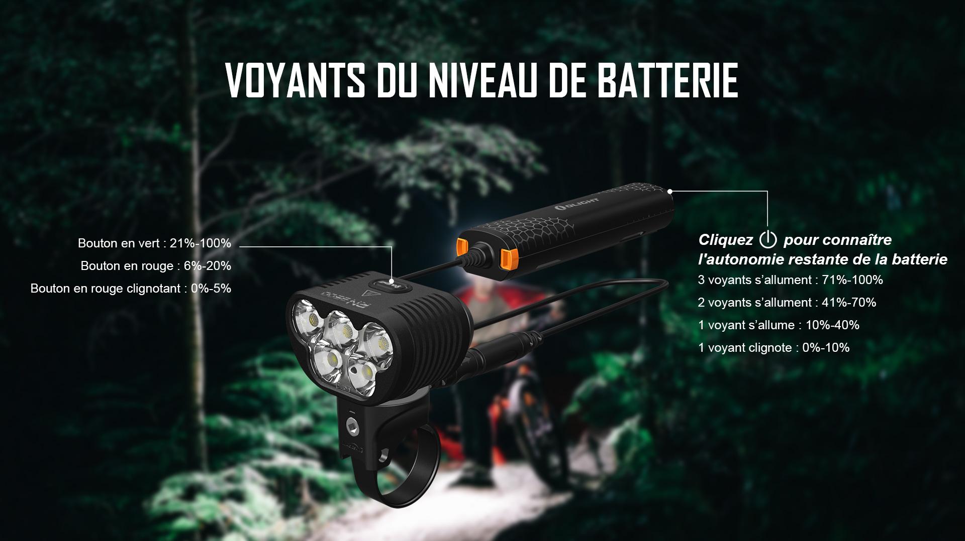 lampe led vélo est équipé d'un pack batterie multifonctionnel