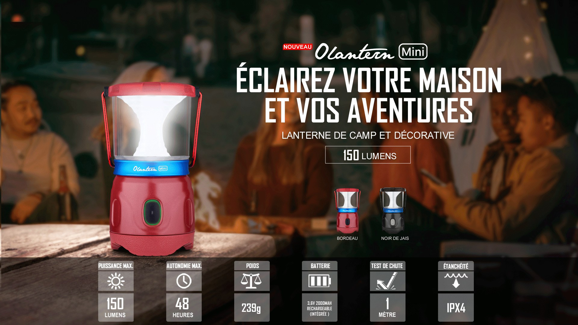 Olantern Mini lanterne de camping rechargeable