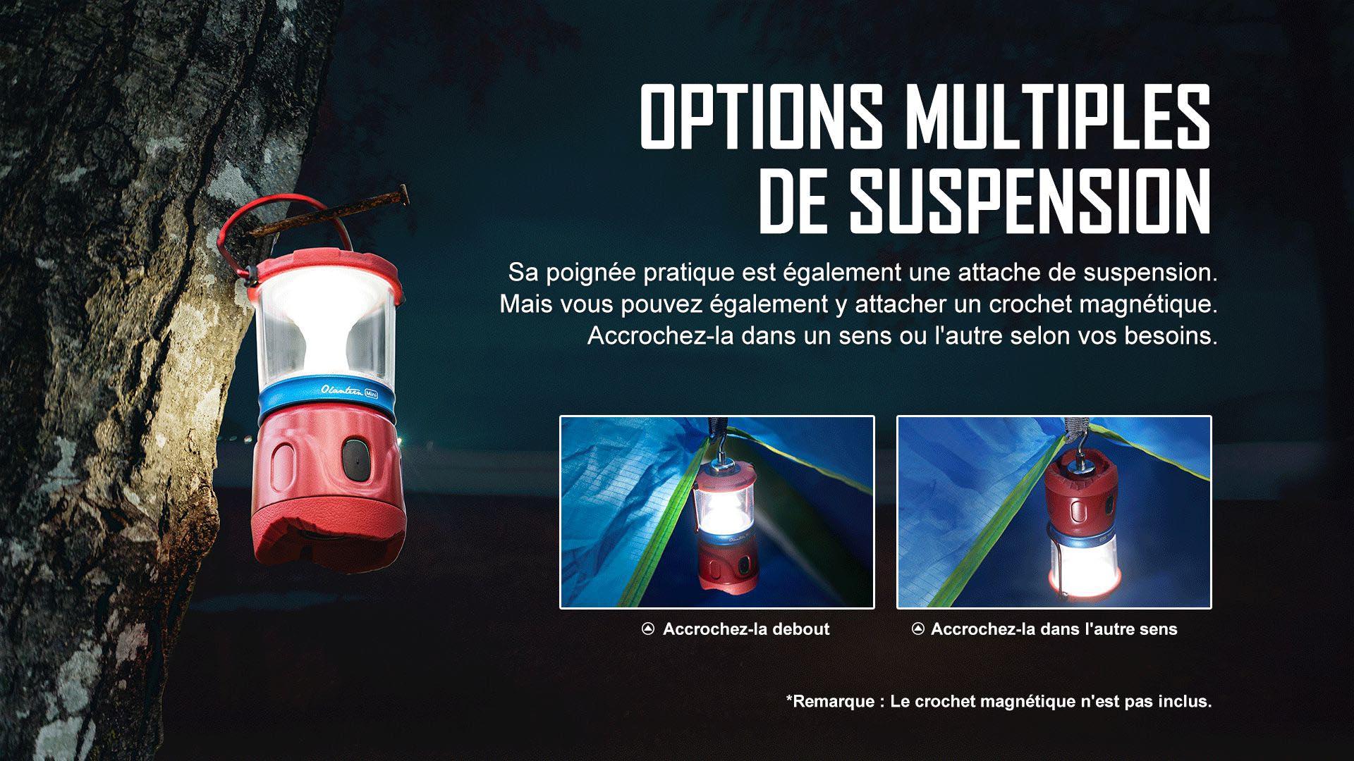 Olantern Mini a une variété d'options de suspension