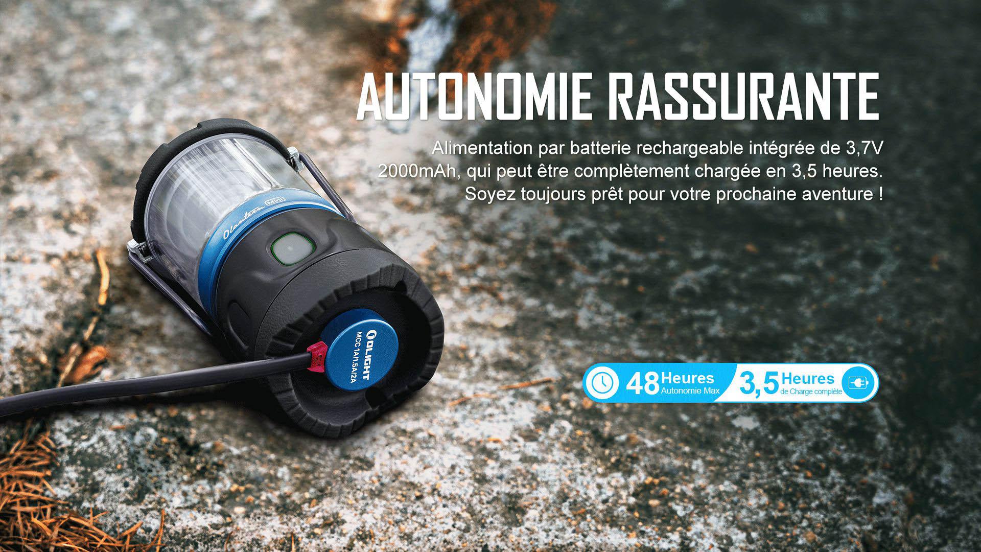 autonomie de la batterie rechargeable jusqu'à 48 heures