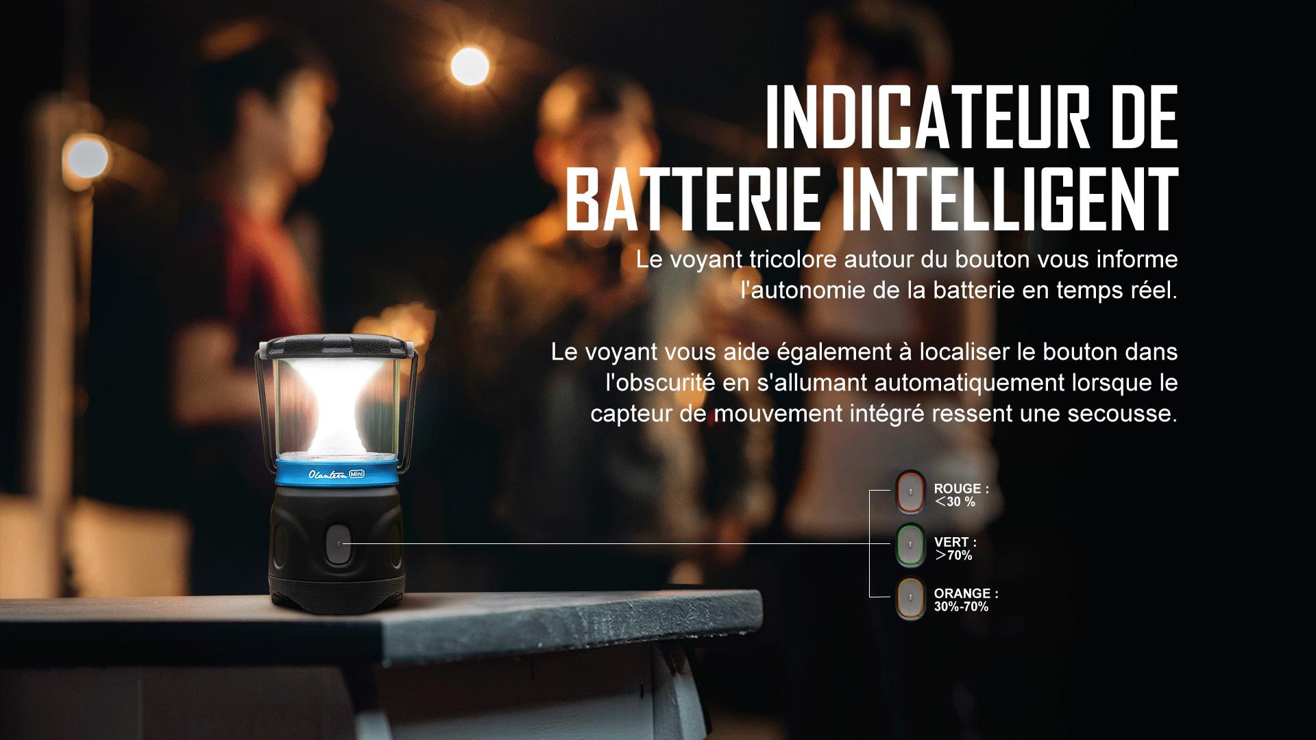 la lanterne de camping dispose d'un indicateur de batterie intelligent