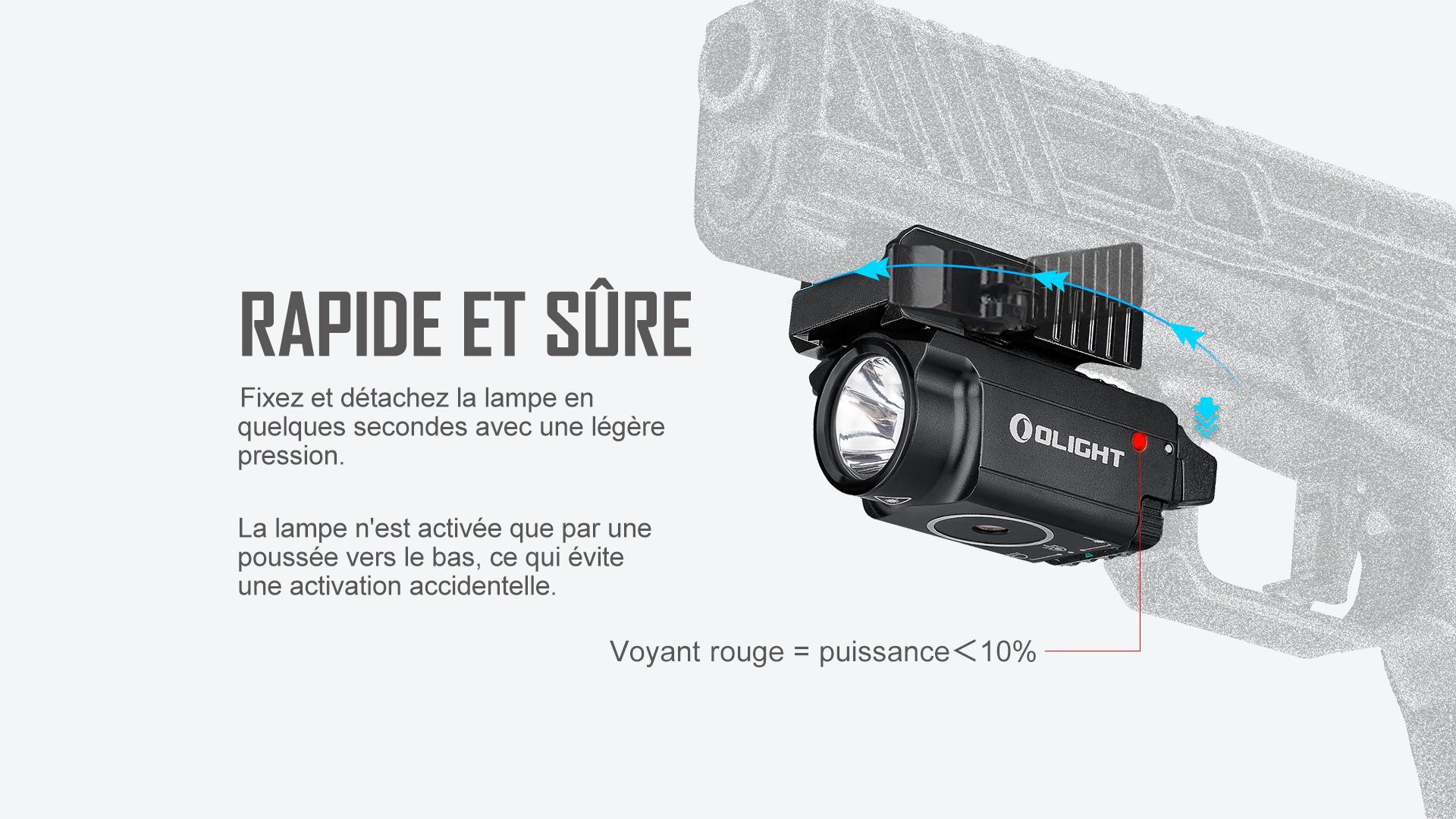 lampe torche laser militaire fixation / libération rapide