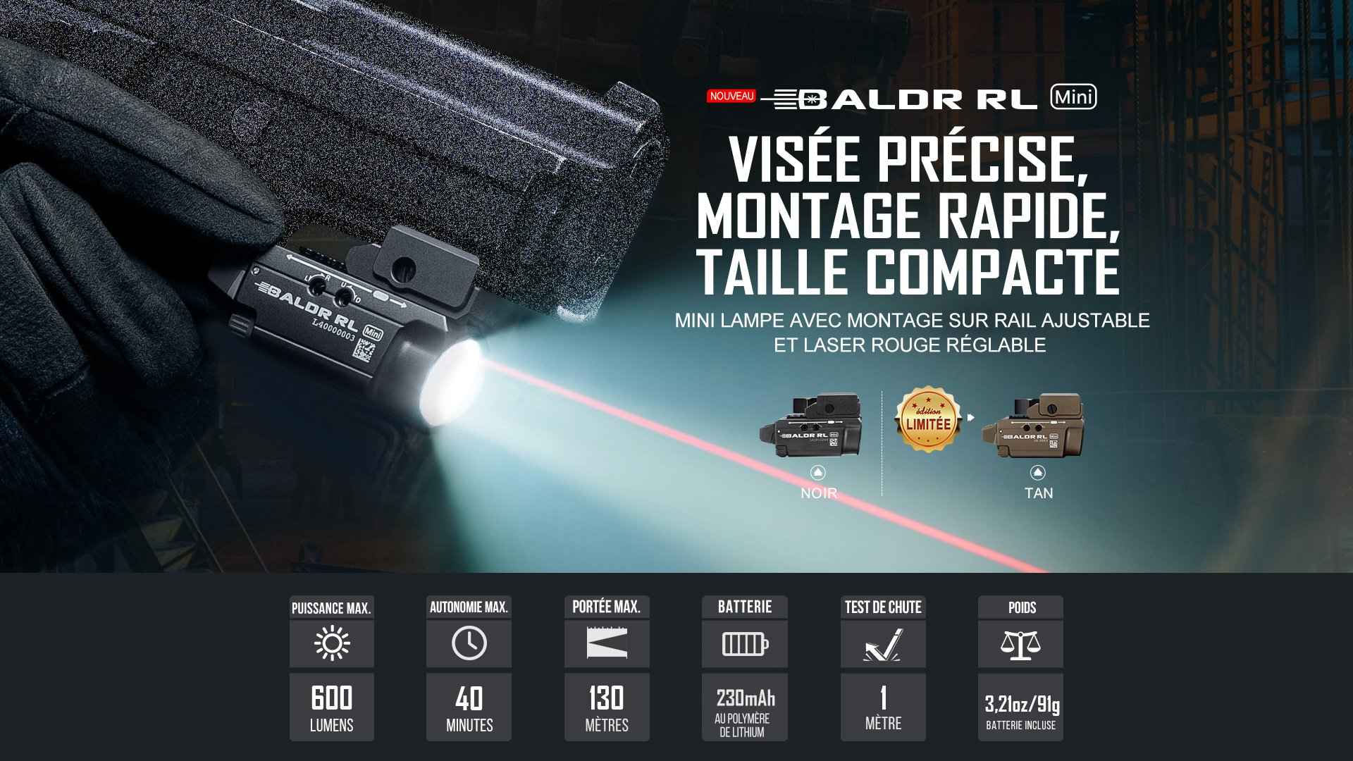 Baldr RL Mini lampe tactique laser rail picatinny