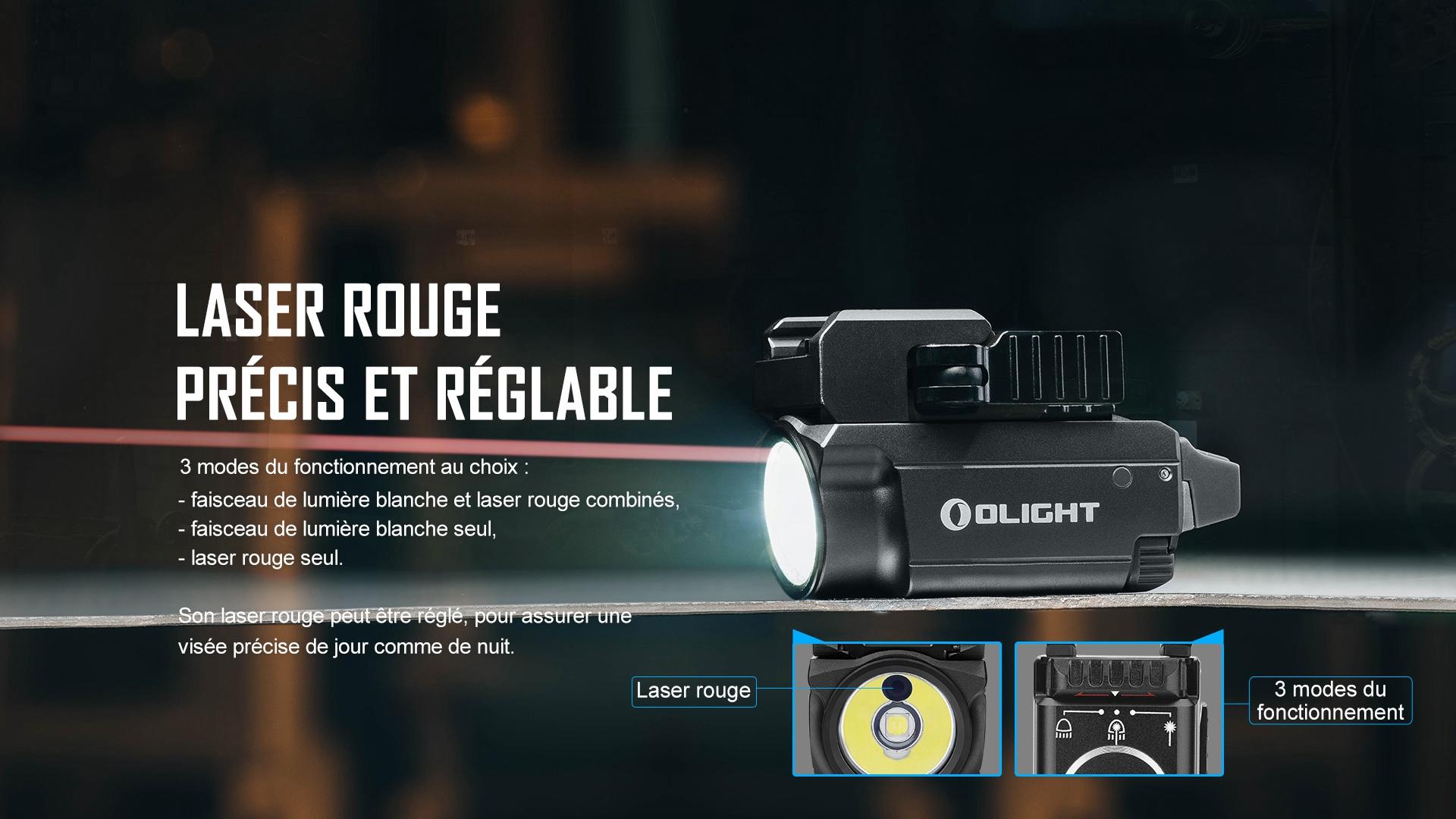 lampe tactique laser rouge précis et réglable