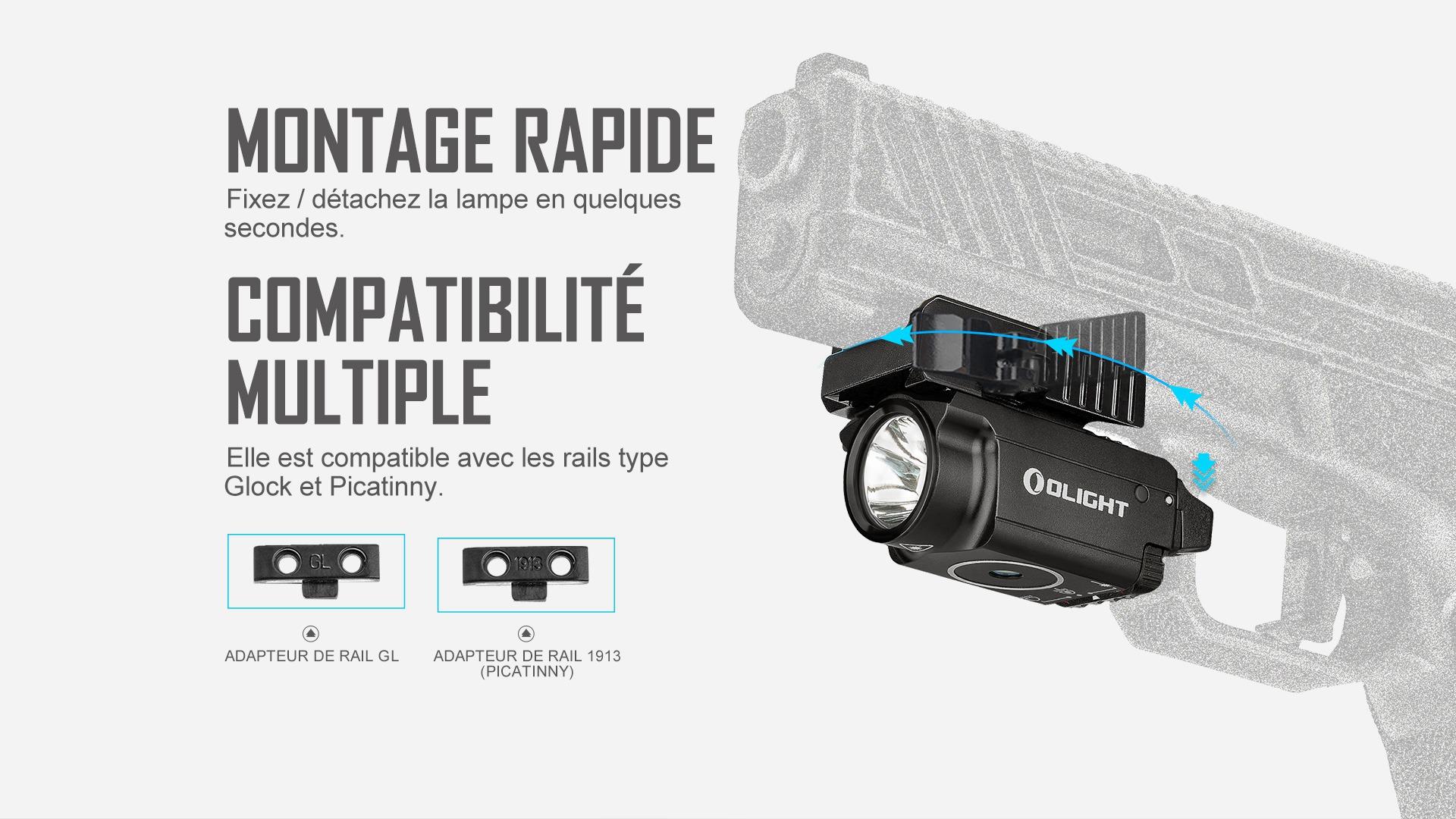 lampe laser picatinny montage rapide, compatibilité multiple