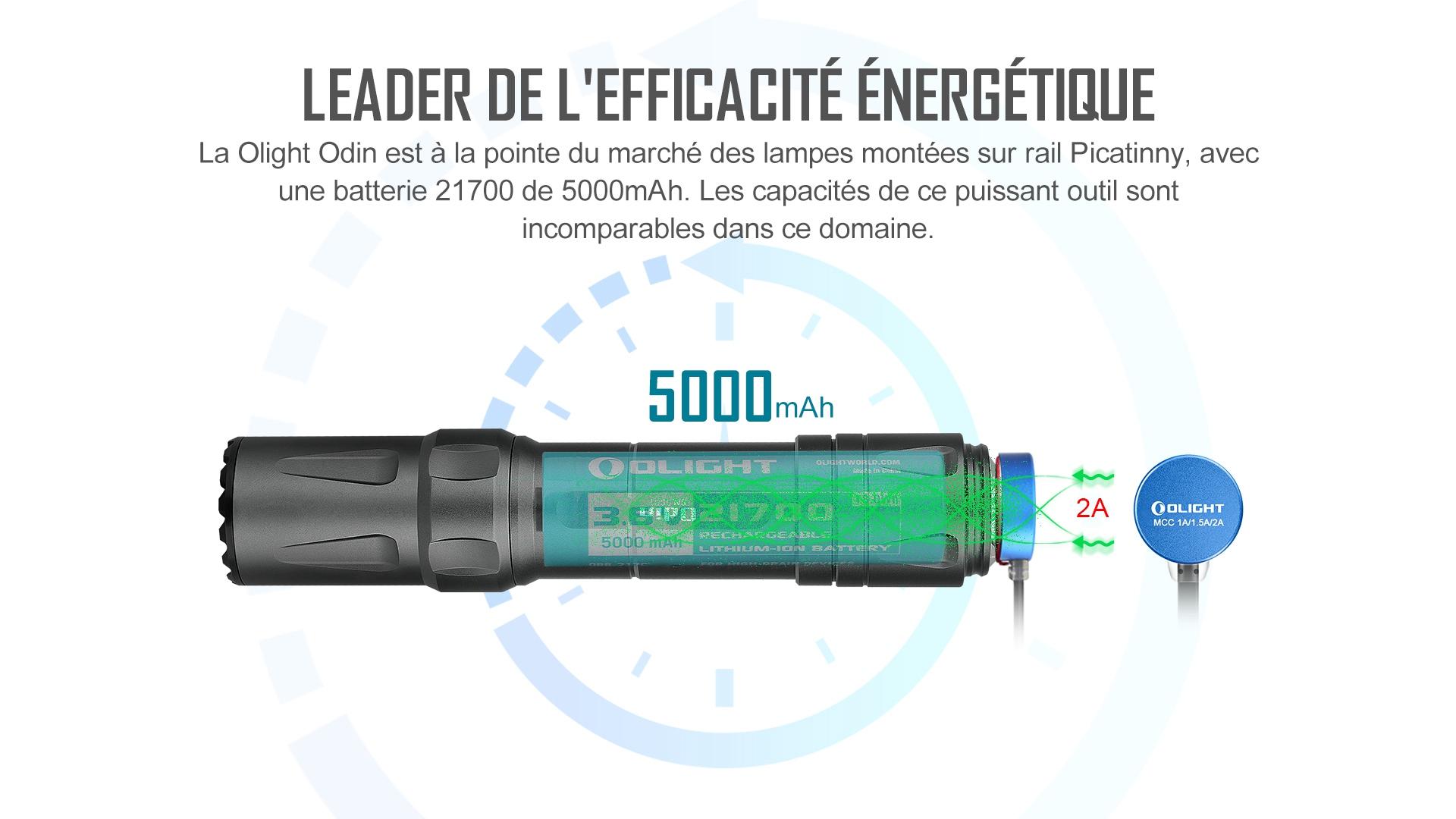 5000 mAh 21700 rechargeable lampe tactique militaire