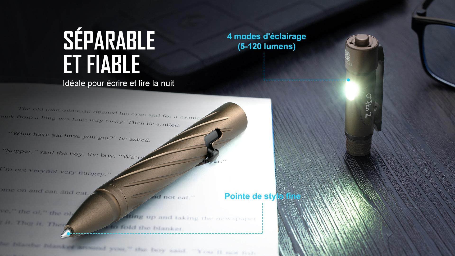 Open 2 peut être séparé en lampe de poche et stylo, 4 modes d'éclairage