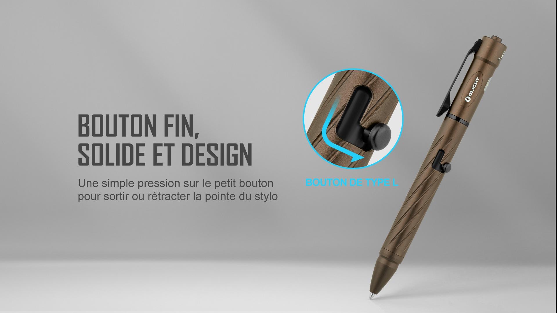 Pointe rétractable stylo lampe torche, bouton de type L