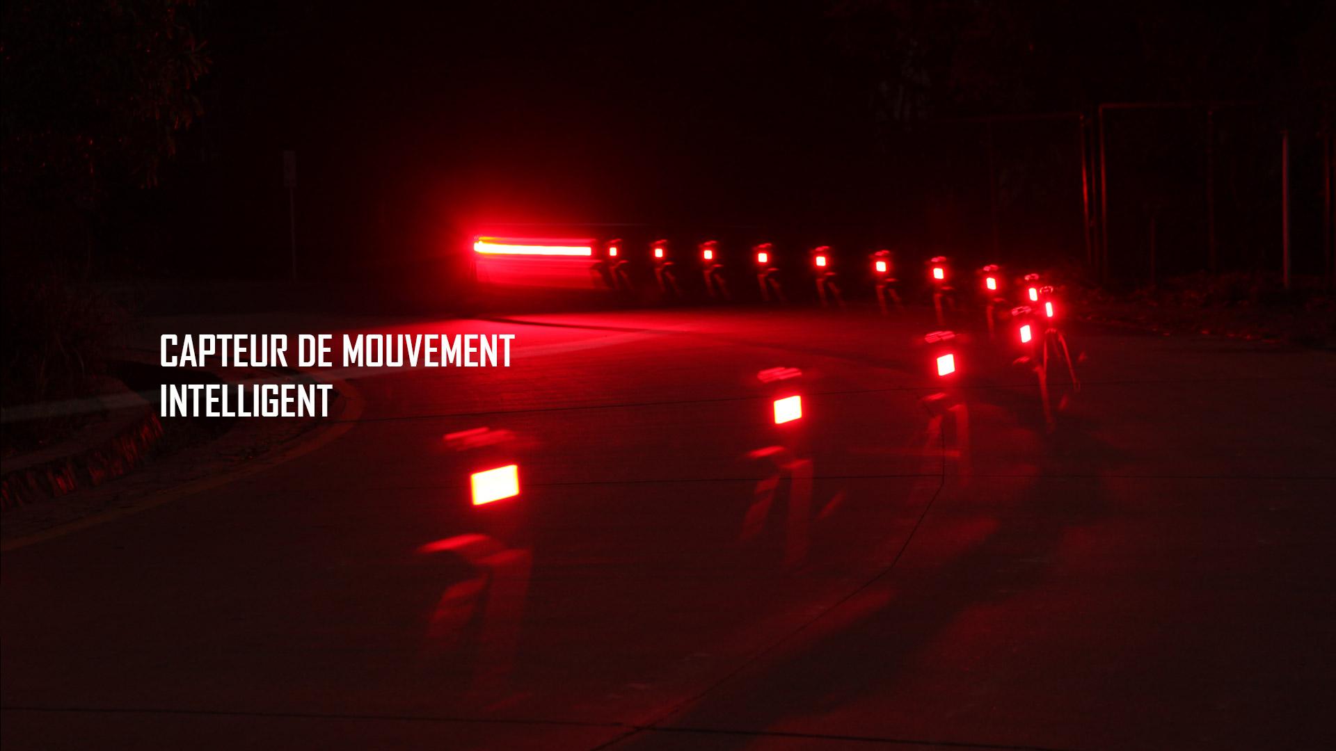 Capteur de mouvement intelligent lampe arrière vélo