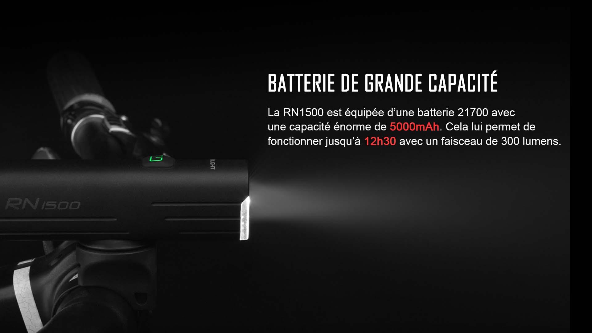 RN1500 éclairage avant vélo batterie de grande capacité
