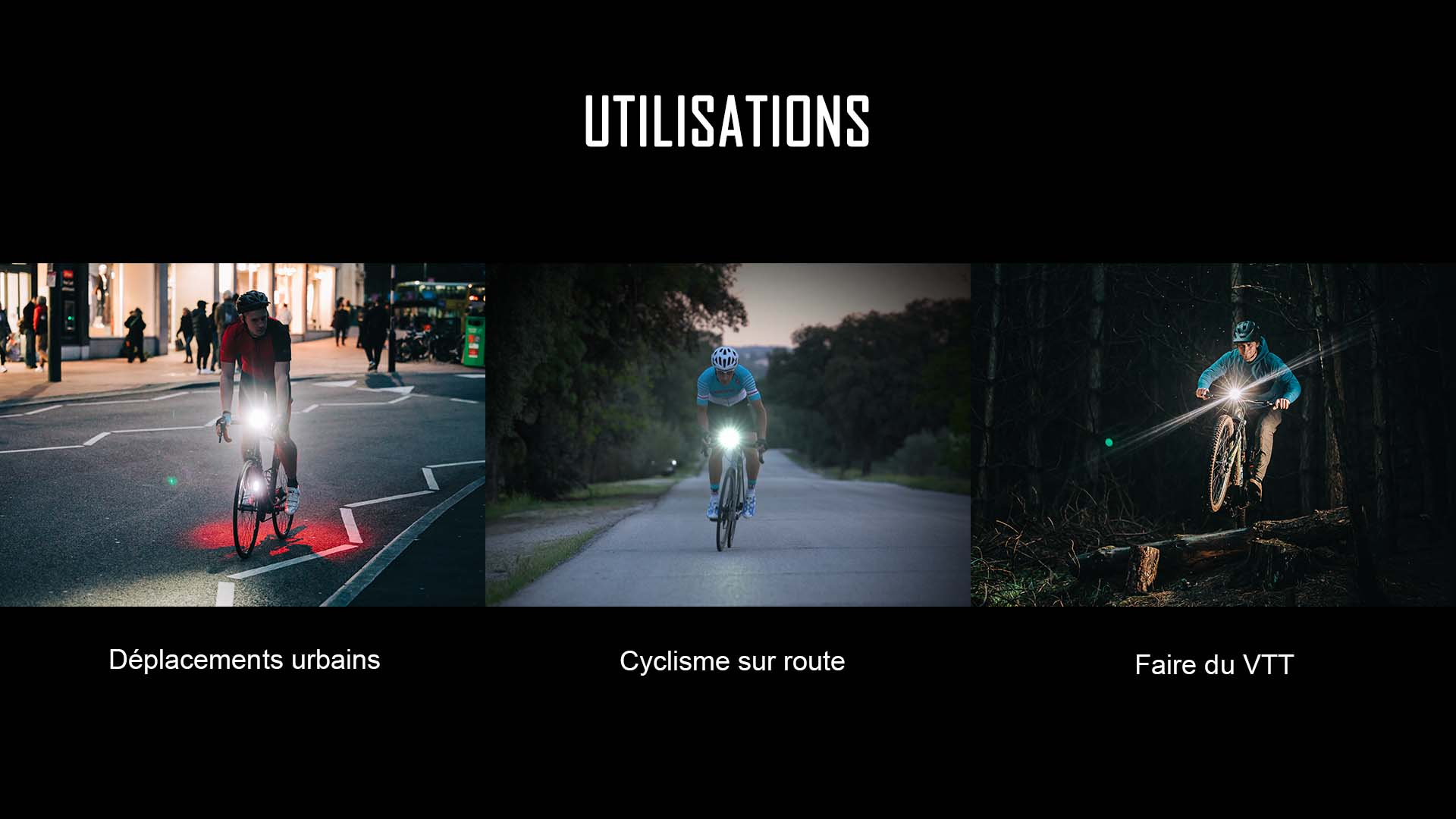 éclairage avant vélo VTT catégorie d'utilisation