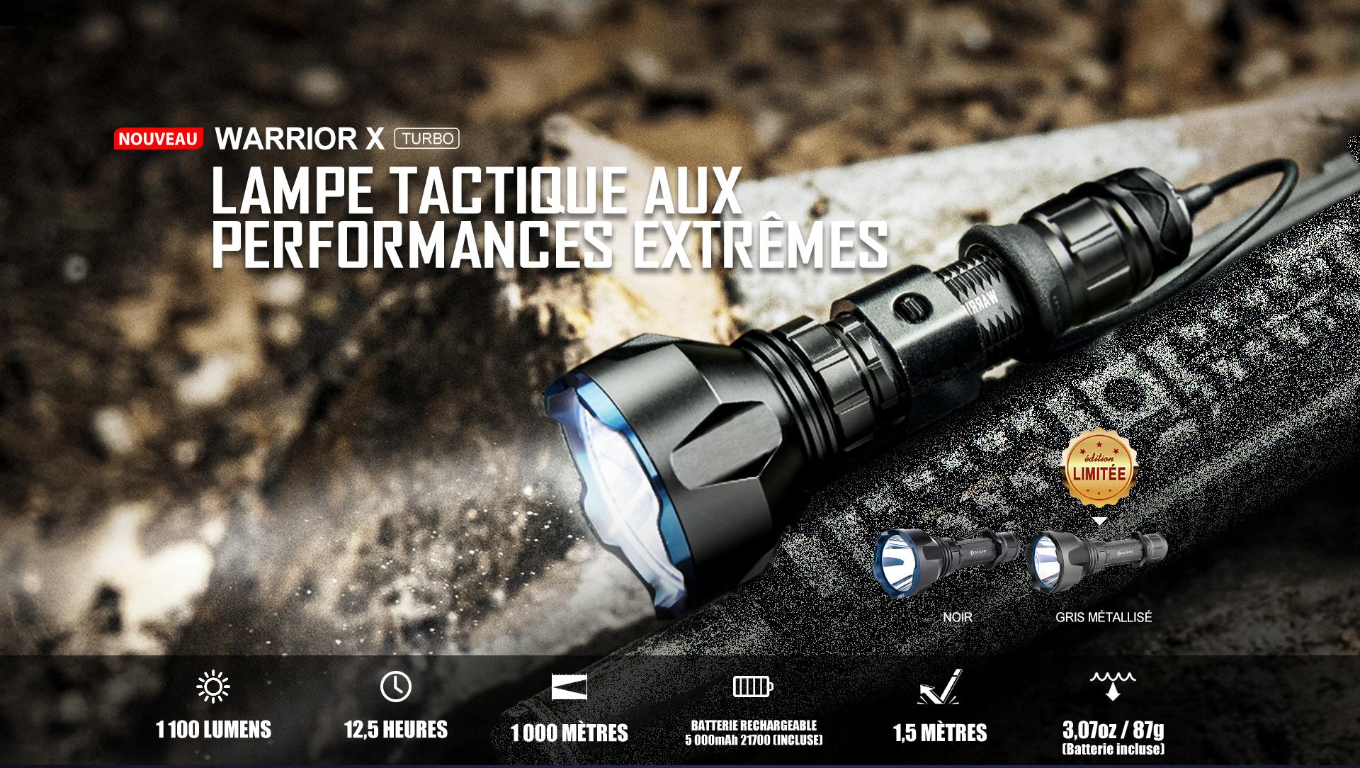 Lampe torche militaire puissante de 1100 lumens