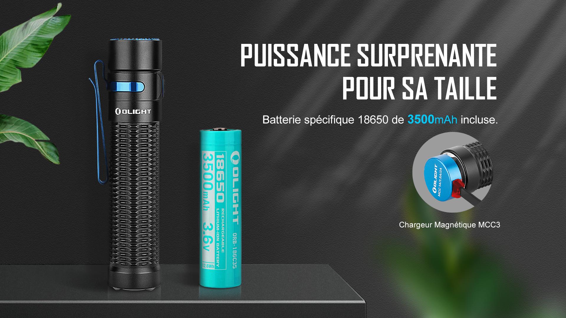 lampe de poche tactique batterie rechargeable 18650 de 3500mAh