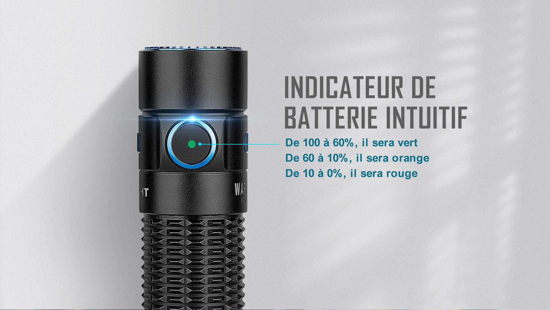 La lampe de poche tactique a un indicateur de batterie