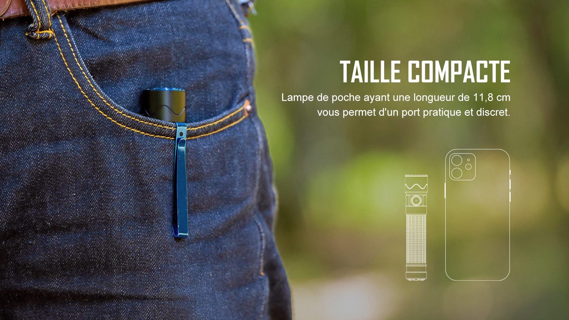 lampe torche autodéfense edc ayant une longueur de 11,8 cm