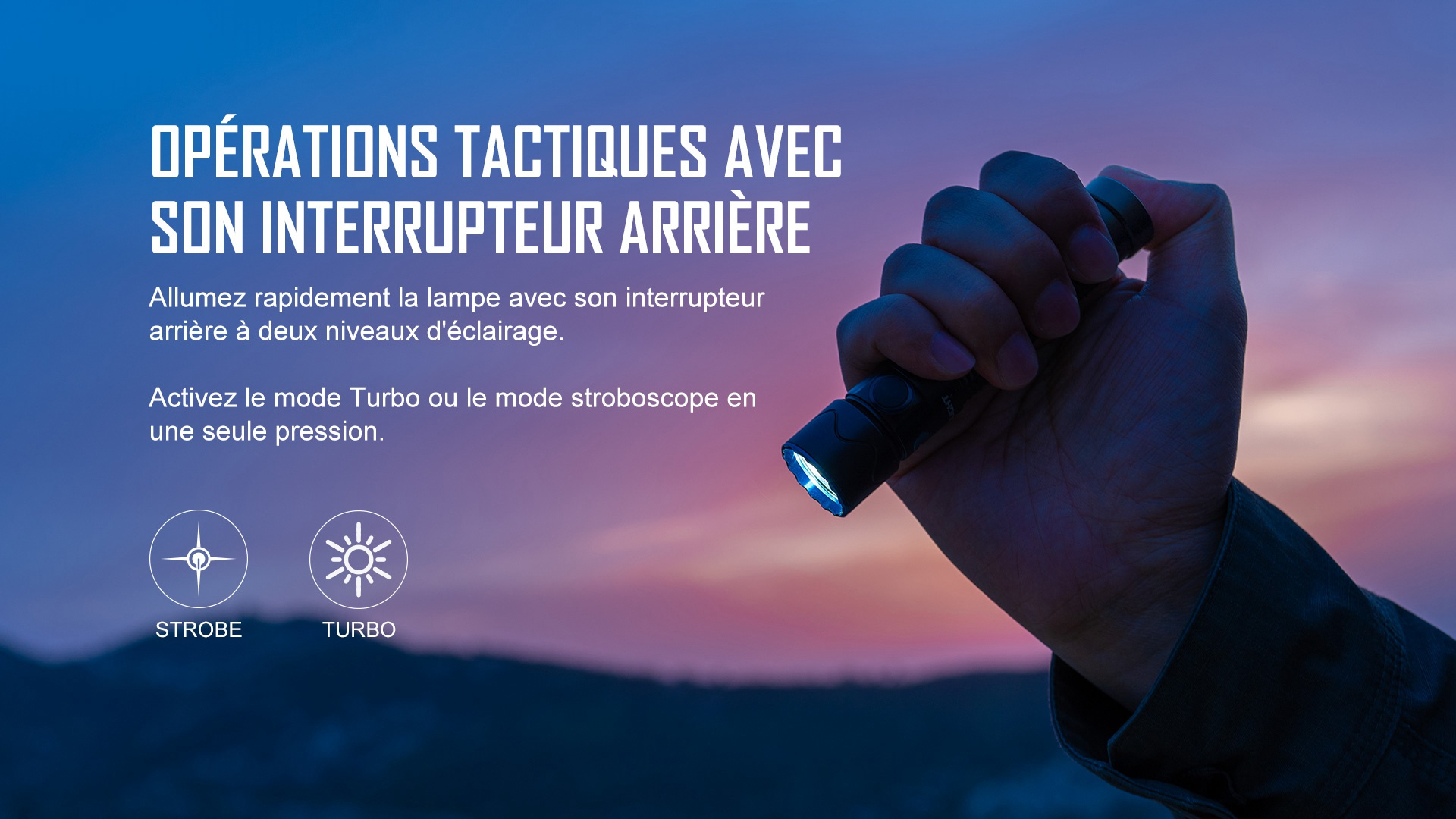 lampe torche autodéfense à double interrupteur