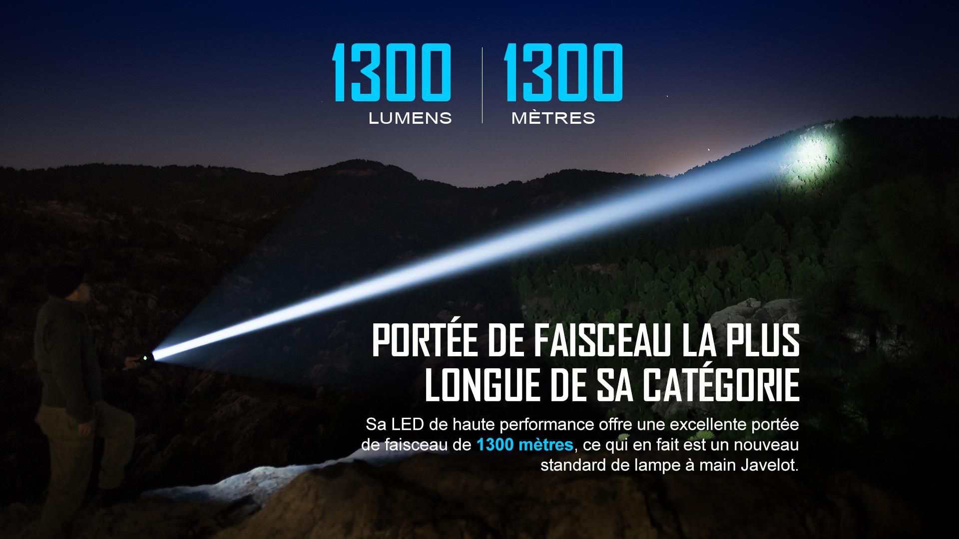 lampe torche puissante longue portée 1300 lumens