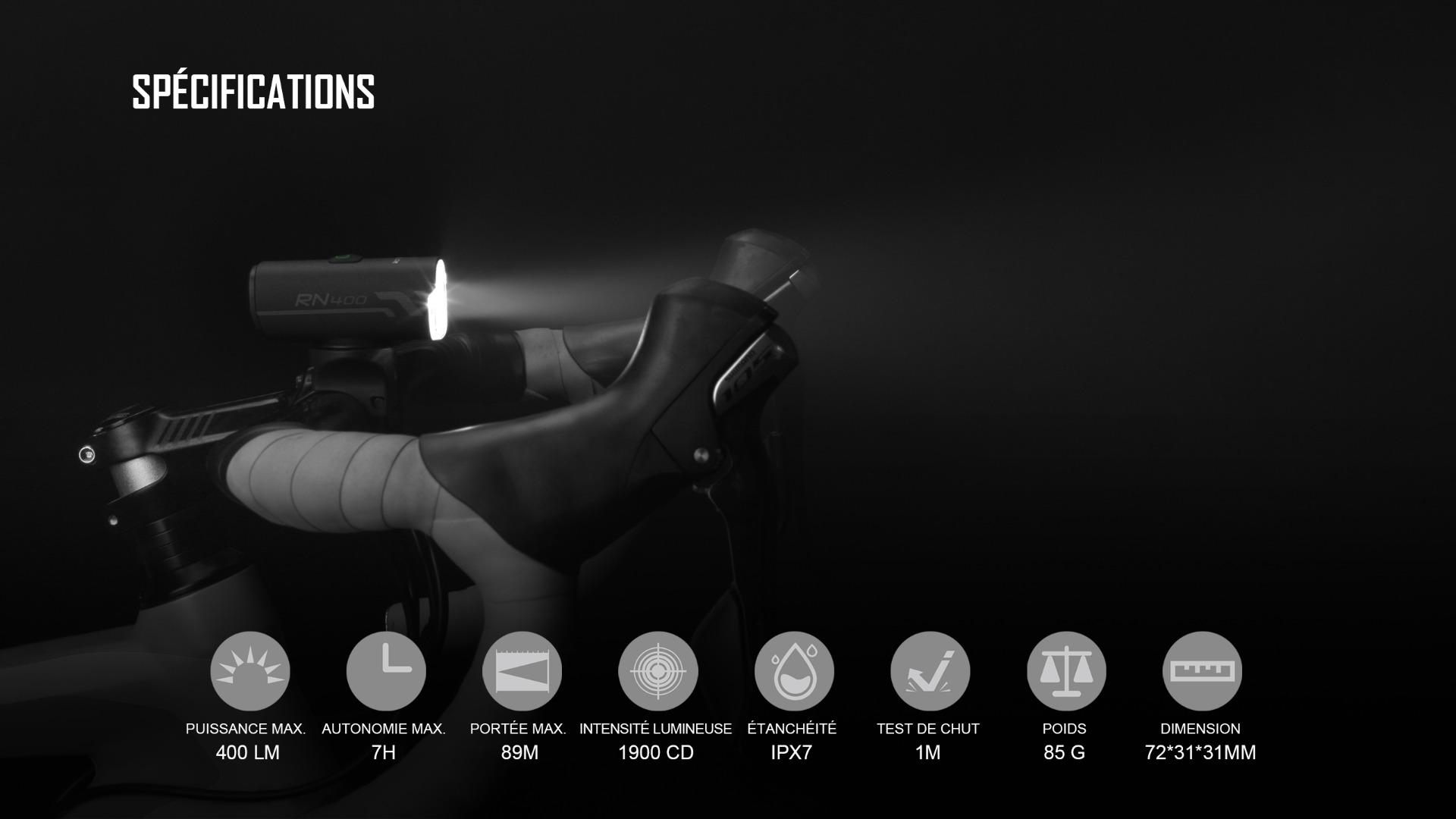 Paramètres de performance de éclairage vélo rechargeable