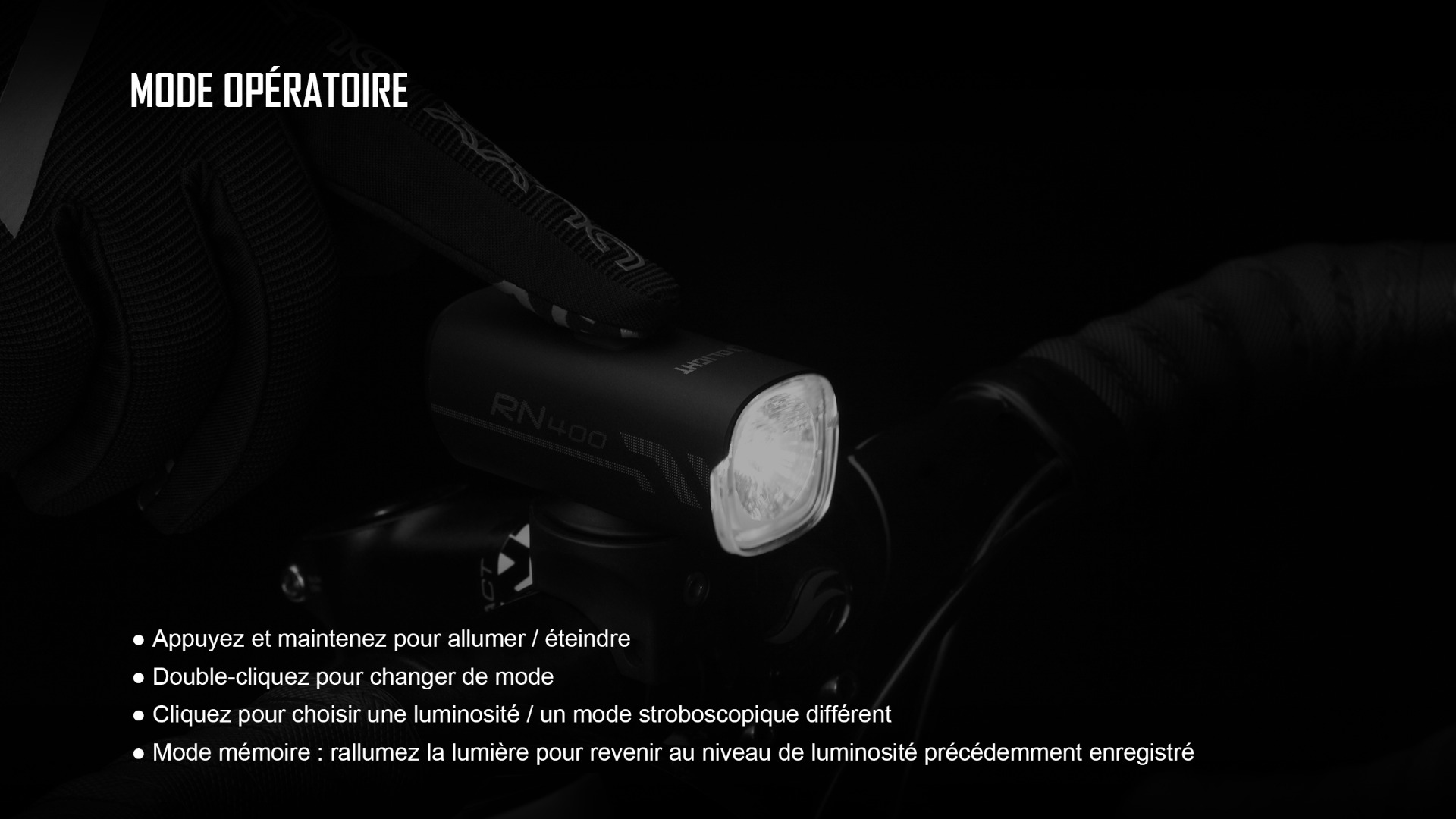 éclairage vélo rechargeable à large plage d'éclairage