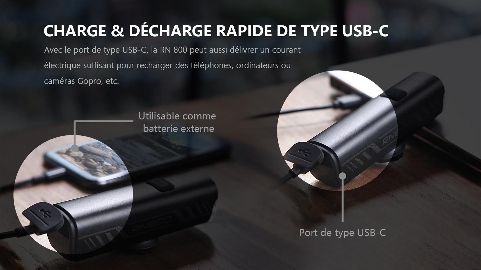 interface de type USB-C lumiere velo avant