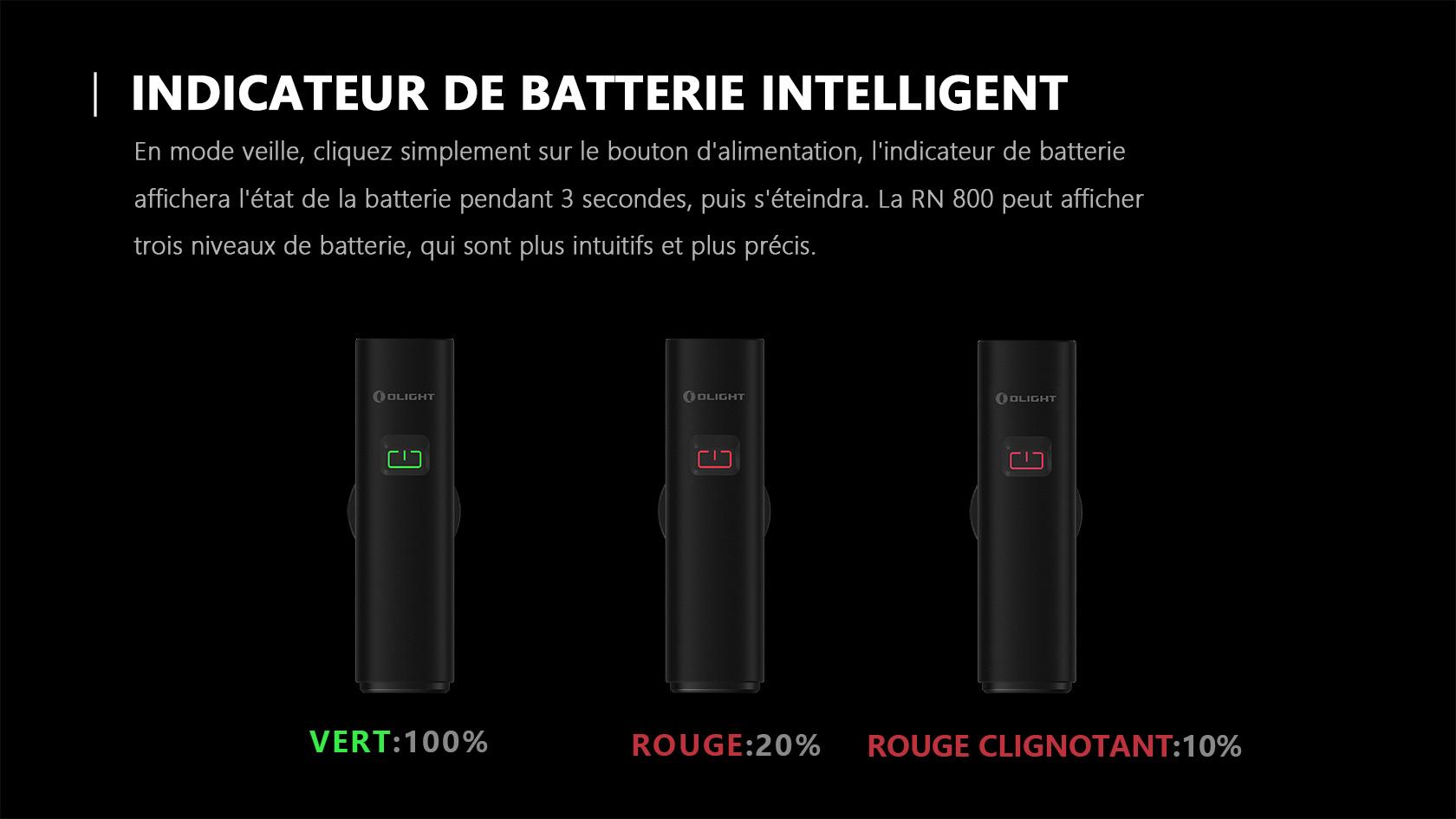 Trois niveaux de batterie lumiere velo avant