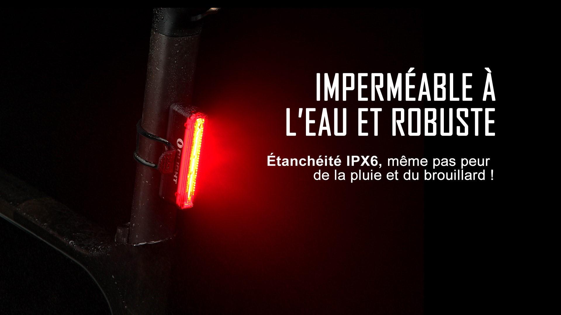 lampe arrière vélo rechargeable étanche IPX6